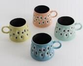 Handmade Set of Four Coloured Porcelain Mugs. Made in Scotland