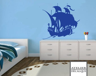 Wall Sticker no. E- 006 - Pirate Ship - Child Decal