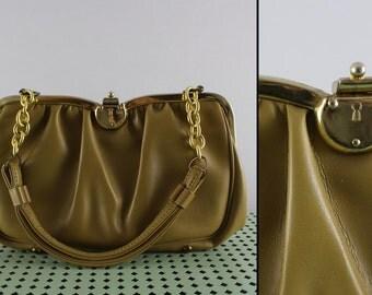 vintage dark tan faux leather frame bag
