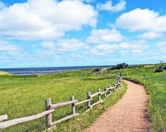 Path to the Sea, Nova Scotia, Canada, Maritime Wall Art, Beach Wall Art, Gift, Path, Beach, Fence, Blue Sky, Clouds, Sunny Day, Picturesque
