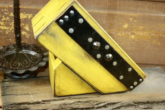 Items similar to Butcher Block - Knife Block - Knife Storage - Cutlery Storage - Yellow - Belted ...