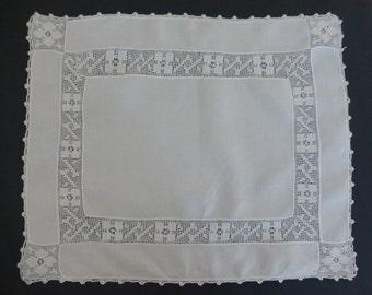 Vintage filet lace and linen table centre doily