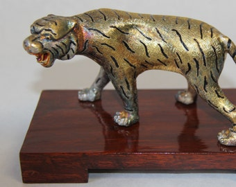 Chinese sterling silver ornamental tiger