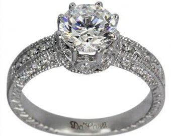 Diamond Engagement Ring 1 Carat Diamond Ring Art Deco Ring & Diamonds 14k Gold