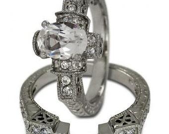 Oval Engagement Ring Diamond Bridal Sets Wedding Jewelry Oval Diamond 14K Gold