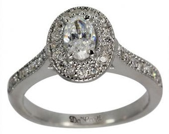 Diamond Halo Engagement Ring 1/2 Carat Oval Center In 14K White Gold Halo Ring Design With Pave Diamond Accents