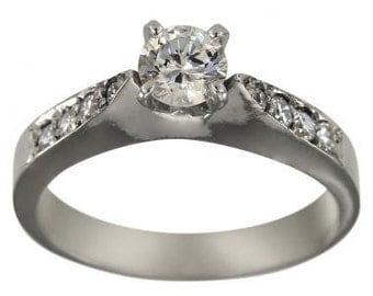 Diamond Engagement Ring With 1/2 Carat Diamond In 14K White Gold Diamond Ring