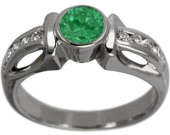 Emerald Engagement Ring With Emerald Bezel Set In Diamond Accented 14K Gold Ring