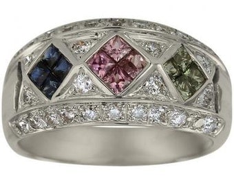 Sapphire Ring With Blue Sapphires Pink Sapphires And Green Sapphires In 14K Gold