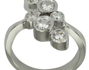 Right Hand Rings 14K White Gold With 0.95ct Bezel Set Diamonds