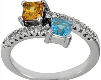 Diamond Ring By Pass Ring With Blue Topaz And Yellow Sapphires In 14K White Gold