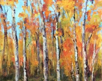 Colorful Aspens in Autumn Original Oil Painting