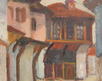 Expressionist oil painting vintage village house