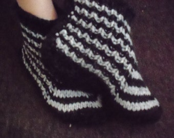 Black - grey hand knitted socks 100% sheep,mohair wool, thick Bed socks ,slippers.UK 4-10.Kozizake.