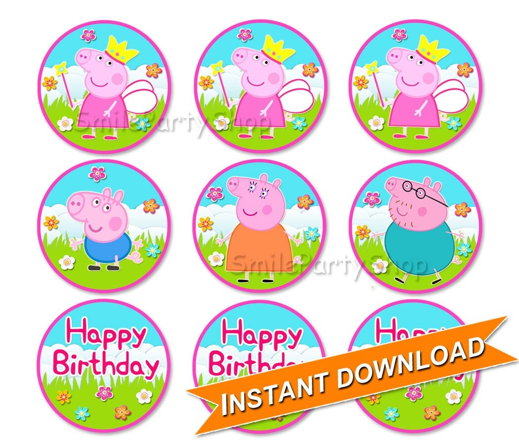 Peppa Pig Cupcake Toppers 2 versions included by SmileParty