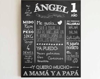 My first birthday - 1st birthday - Spanish Custom Chalkboard Birthday - printable - Instant Download