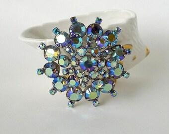 "Huge Vintage Juliana Brooch Continental Blue AB Pin Aurora Borealis Rhinestone Brooch 2 5/8"" Wedding Brooch - Vintage Jewelry Pin"