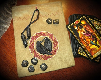 Norse Tarot or Rune Bag, Huginn and Muninn