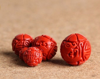 6mm/8mm/10mm 50 pcs Natura Cinnabar Beads Polish Carved Beads  loose Beads Jewelry Findings for Necklaces/Bracelets