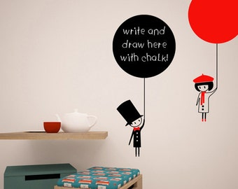 Balloon message chalk board wall sticker - boy and girl wall decal  - balloon board to write with chalk vinyl - flying kids mural