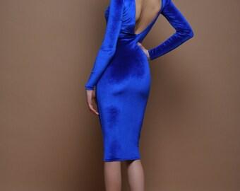 Royal Blue Velvet Bodycon Dress Open Back Long Sleeves