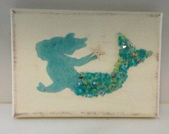 Mermaids, Mermaid art, Coastal Decor, Coastal Art, Beach decor, Mermaid decor, Seaglass Mermaid, Seashell Mermaid
