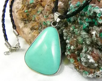 Magnasite Turquoise Pendant with Braided Leather Chain