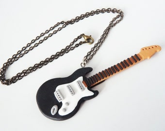 Necklace electric rock guitar in polymer clay - Different models available