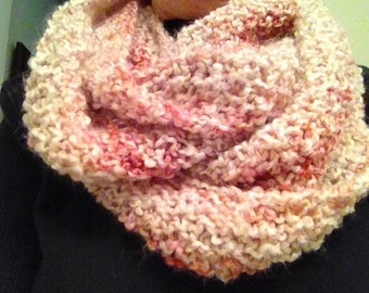 Pink infinity cowl hand knit scarf