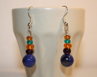 Silver, dangling earrings with 5 round beads blue, orange, green