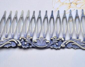 Antique Bronze Metal Comb- 5pcs Metal Hair Combs 14 teeth Filigree Hair Findings15x40mm (NICKEL FREE)