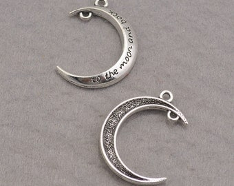 10pcs moon necklace(3D),silver moon pendant,moon charm bracelets,New Moon, Crescent Moon, Craft Supplies, Jewelry Making 30*26mm