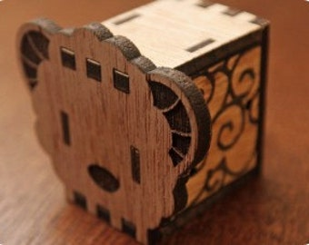 Music box, hand crank interlocking wooden music box, DIY  - Sheep