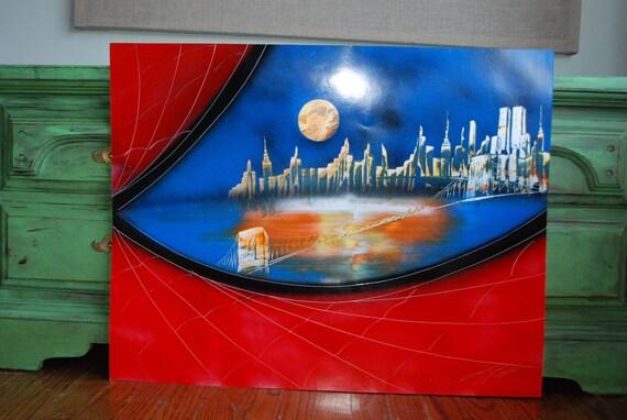spider man eye poster new york skyline spray paint art space. Black Bedroom Furniture Sets. Home Design Ideas