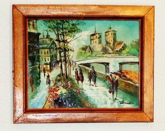 10'' X 9'' Oil on Canvas Board European 'Tourist Picture' Street Scene by Brion