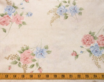 Cotton Fabric By The Yard, Concord Fabrics Quilting Cotton Fabric, Roses on Beige Background, Cotton Material, t1-008