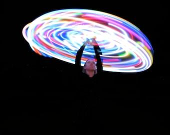 """7 Color Strobing LED Travel Hoop, LED Hula Hoop, HDPE Hoop, Hula Hoop, 3/4"""" or 5/8"""", Travel Hoop, Collapsible, Rechargeable, Moons Of Noor"""
