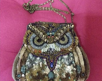ACCESSORIZE BAG OWL beads and sequins size 17x17