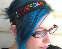 I heart Jordan (pick your favorite) NKOTB headband New Kids on the Block Embroidered - Neon love