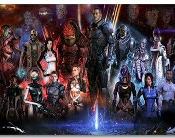 Mass Effect 1 2 3 ME Game Silk Wall Poster 48x32,36x24,18x12 inch Huge Big Prints Room
