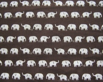 """Half Meter, Cotton Canvas Fabric, Brown, Elephants Printed, 114 cm. by 50 cm. (45"""" by 19.5""""), Ready to Ship."""