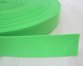 5 Yards, 1 inch (2.5 cm./25 mm.), Polypropylene Webbing, Neon Green, Key Fobs, Bag Straps, Purses Straps, Belts, Tote Bag Handle.