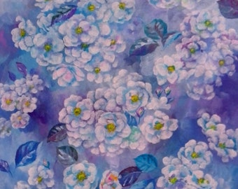 White roses; Acrylic painting on Canvas by Artist Yuuko Ono
