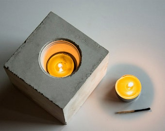"Concrete Candle Holder ""cube"""