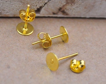 100 Pairs Gold Flat Pad Blank Gold Earring Posts Cabochon Ear Studs With Back Stoppers,Earring Stud Post 5mm Pad Gold 12mm Long.