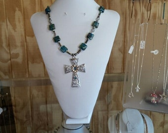Big Cross Necklace with Earrings