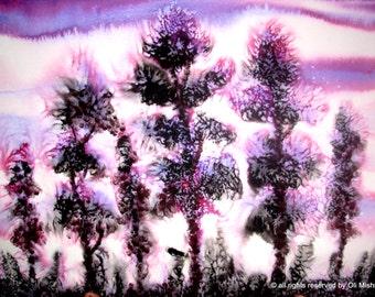"Surreal Painting, Sale Original Landscape Painting, Watercolor Painting by deaf artist 29"" X 19"" purple black trees nature"