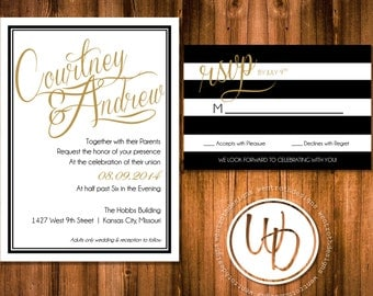 Gold and Black Wedding Invitation, Gold and Black Wedding Suite, Modern Wedding Invitation, Striped Wedding Invitation, Gold Invitation