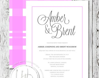 Pink Wedding Invitation, Plaid Wedding Invitation, Pink Wedding Suite, Plaid Wedding Suite, Modern Wedding Invitation, Custom Invitations