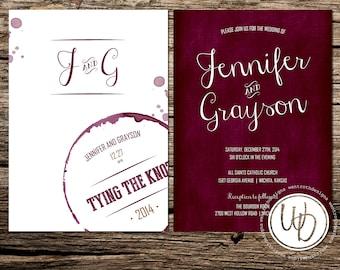 Marsala Wedding Invitation, Wine Wedding Invitation, Merlot Wedding Invitation, Vineyard Wedding Invitation, Custom Wedding Suite